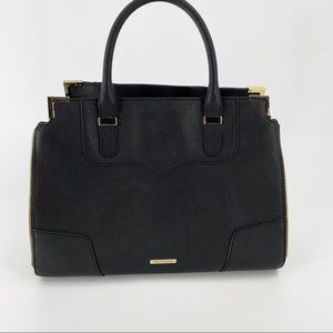 Rebecca Minkoff black hand bag with gold detail